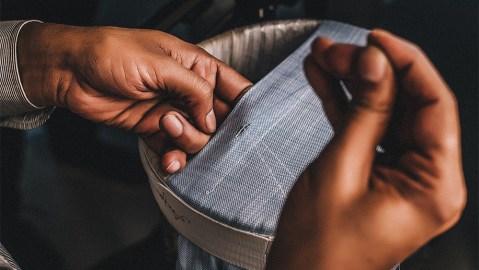 A hand-sewn 100Hands shirt in progress.