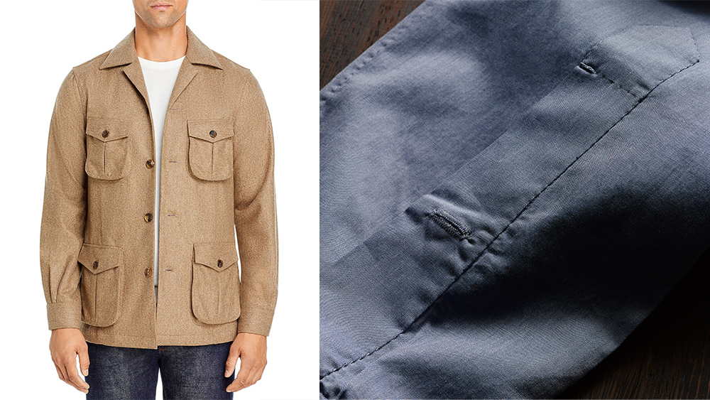 100Hands wool shirt jacket ($775); detailed stitching on a sleeve's button placket..