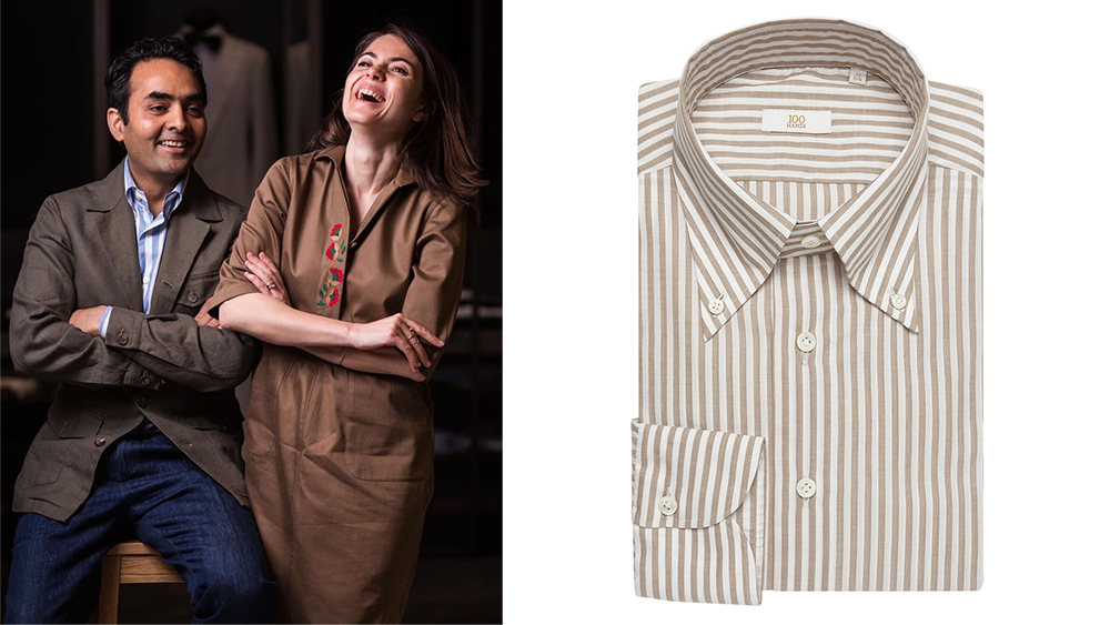 Akshat and Varvara Jain; a 100Hands button-down shirt