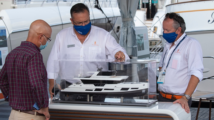 Warning Signs about social distancing at the Fort Lauderdale International Boat Show