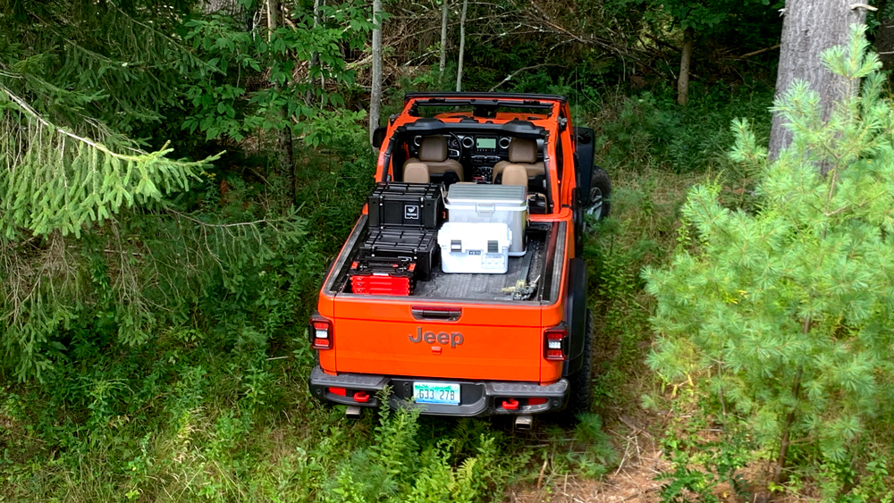 The Jeep Gladiator Rubicon loaded with backcountry supplies.