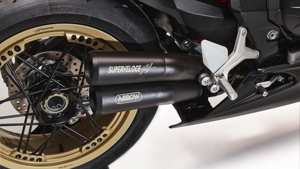 The track-specific Arrow muffler on the MV Agusta Superveloce 75 Anniversario motorcycle.