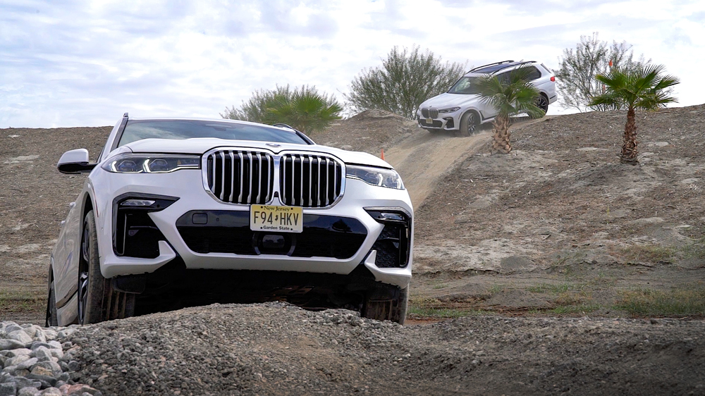 BMW SUV's on an off-road section at BMW's Performance Center West.