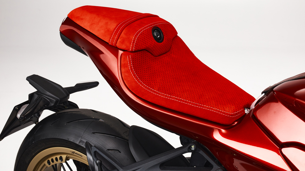 The rider and passenger seats on the MV Agusta Superveloce 75 Anniversario.