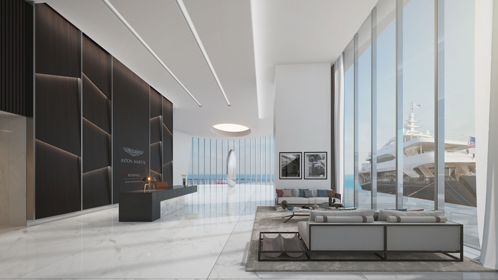 A rendering of the ground-floor lobby of the Aston Martin Residences in Miami.