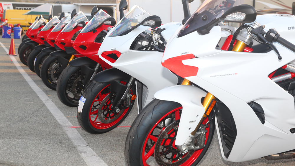 Ducati motorcycle available for test rides at the Ducati Revs event at Weathertech Raceway Laguna Seca.