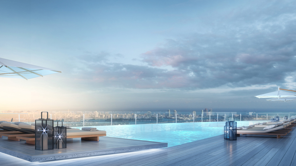 A bird's-eye perspective of Miami from the pool deck of the Aston Martin Residences tower.