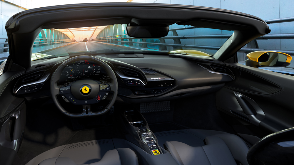 The interior of the Ferrari SF90 Spider.