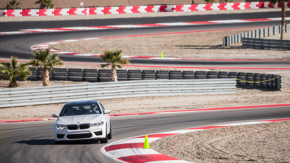 A car on the track at BMW's Performance Center West.