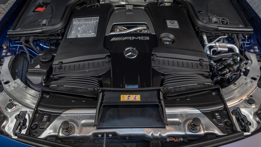 The engine of the Mercedes-AMG E 63 S Wagon.