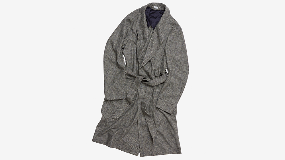 Executive Lounge: Anglo-Italian's glen check wool flannel robe ($572.40).Italian