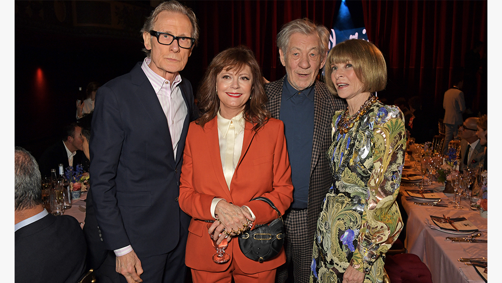 PARIS, FRANCE - JANUARY 19: (L to R) Bill Nighy, Susan Sarandon wearing Paul Smith, Sir Ian McKellen wearing Paul Smith and Dame Anna Wintour attend an intimate dinner in celebration of 50 years of Paul Smith at Le Trianon on January 19, 2020 in Paris, France. (Photo by David M. Benett/Dave Benett/Getty Images for Paul Smith)