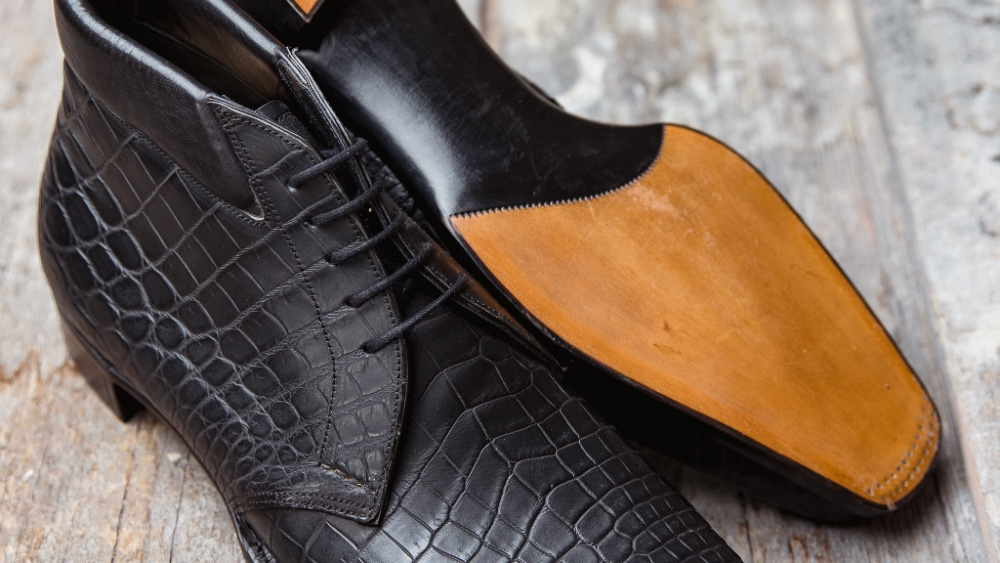 George Cleverley alligator shoes with a carbon finish are offered to Robb Report readers with an experience