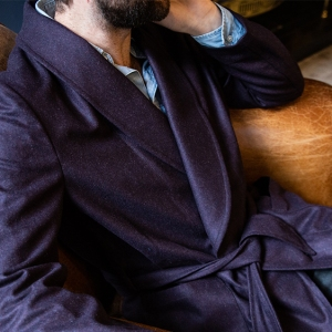 A navy blue flannel dressing gown from Gownsmith.
