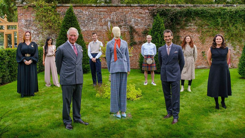 HRH-The-Prince-of-Wales-YOOX-NET-A-PORTER-GROUP-Chairman-and-CEO-Federico-Marchetti-with-six-of-the-Modern-Artisans-at-the-final-collection-review-at-Dumfries-House