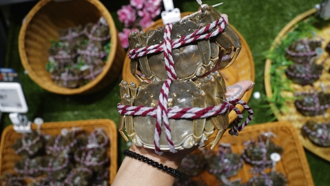 As autumn, the crab season is coming, hairy crabs are now on the shelf of FreshHema, Alibaba's fresh food retailer in Kunming city. southwest China's Yunnan province, 20 September 2020.  (Imaginechina via AP Images)