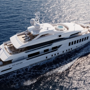Heesen's Project Gemini includes unusual features for a yacht its size like a custom bathtub and full wellness center