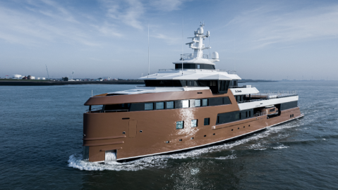 Superyacht LaDatcha is being delivered to her owner for a held-skiing trip in Siberia