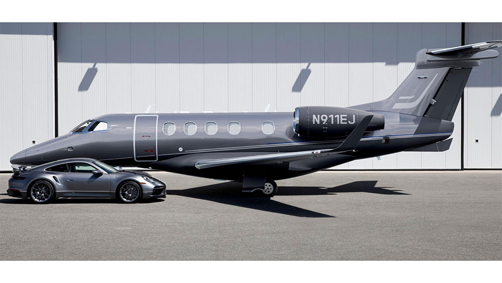 Embraer and Porsche Duet combination business jet and supercar