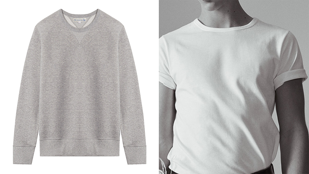 Merz b. Schwanen grey cotton sweatshirt and white tee.