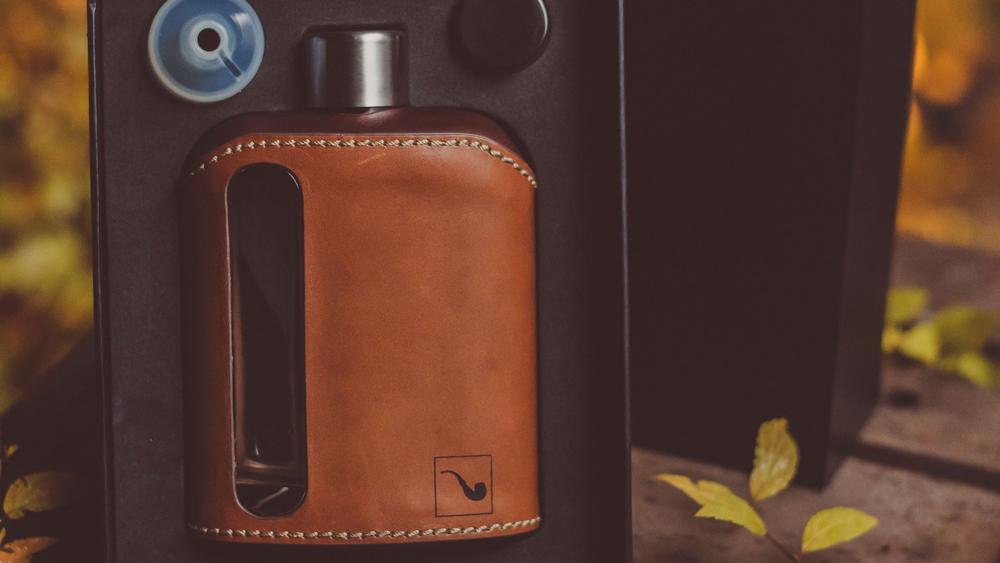 Ragproper Dark & Tan Leather Glass Flask