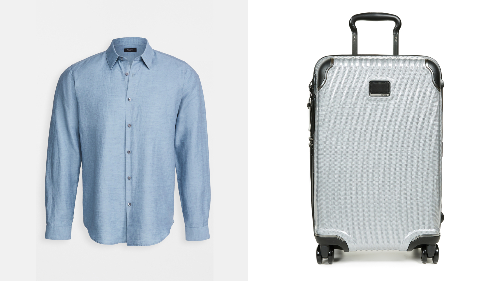 theory shirt tumi suitcase