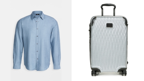 theory shirt tumi suitcase