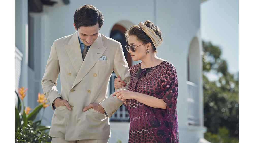 Josh O'Connor as a DB suited Prince Charles beside Helena Bonham Carter's Princess Margaret.