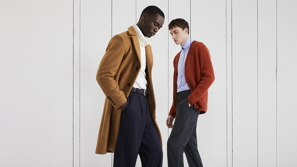 Two looks from the Modern Artisan menswear collection.