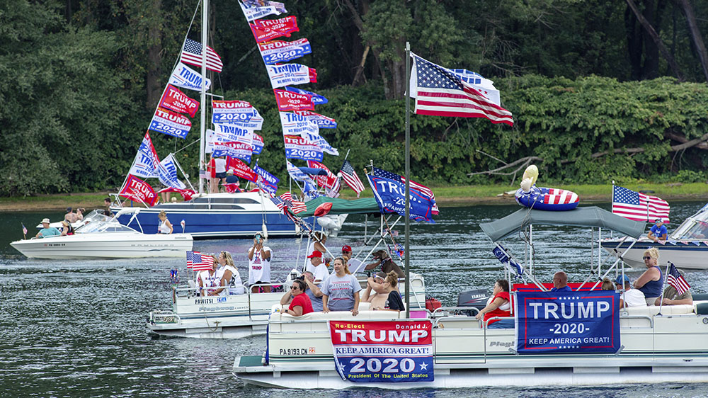 A Trump boat parade in Pennsylvania in September