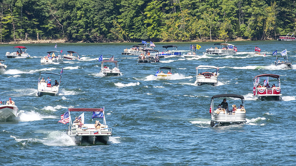 A pro-Trump boat parade in Tennessee in September