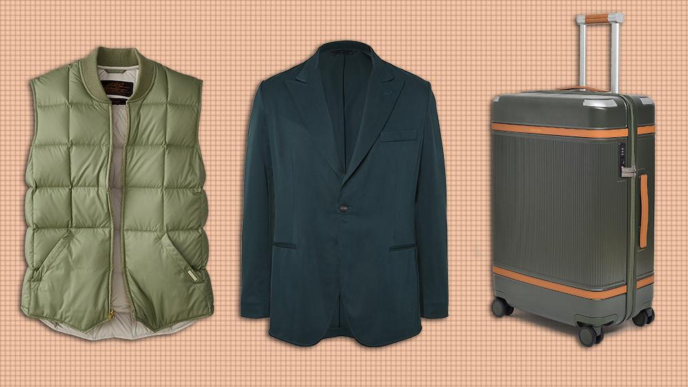 Eddie Bauer vest, Brioni jacket, Paravel suitcase