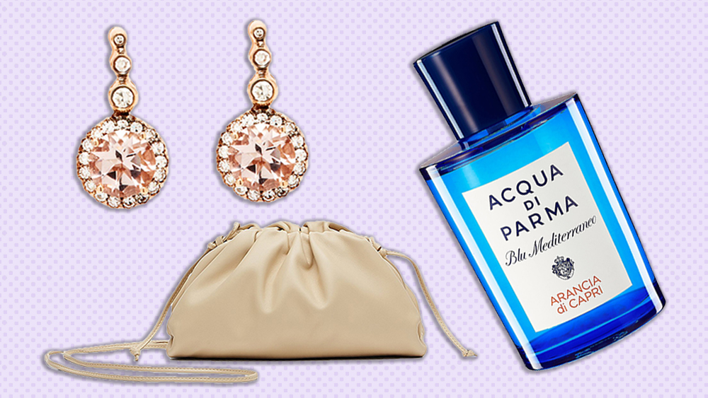 Selim Mouzannar earrings, Acqua di Parma perfume, Bottega Veneta bag
