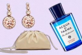 Selim Mouzannar earrings, Acqua di Parma perfume, Bottega Veneta bag