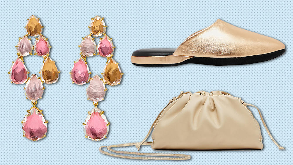 Larkspur & Hawk earrings, Charvet slipper, Bottega Veneta bag