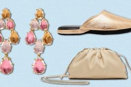 Larkspur & Hawk earrings, Charvet slipper, Bottega Veneta bag