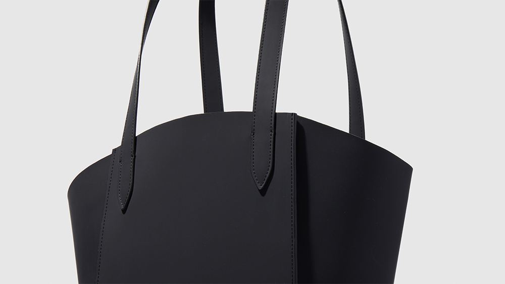 Details of an AirCarbon leather tote.