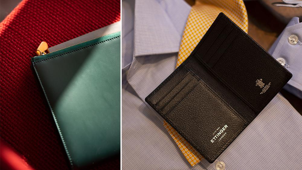 Ettinger bridle hide pouch ($365) and 'Capra' goatskin cardcase ($190).