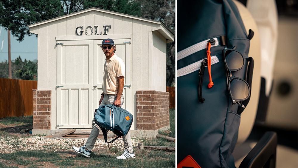 The backpack from Garrett Leight's collaboration with Jones Sports Co.