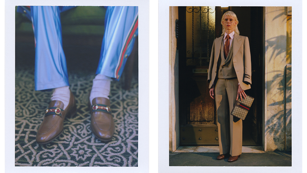 Details from the spring collection, uincluding loafers and a three-piece suit.