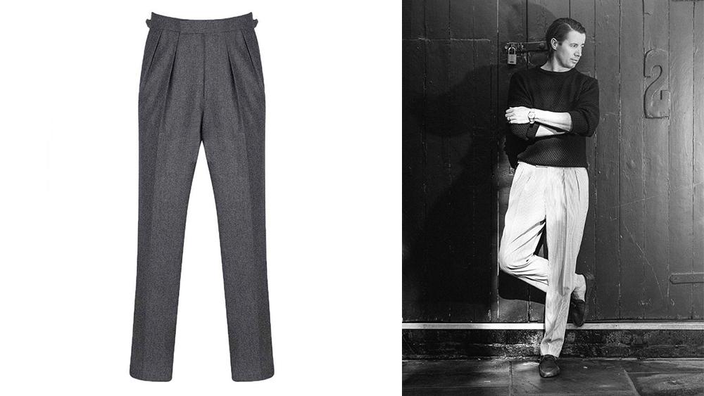 Kit Blake flannel double-pleat trousers