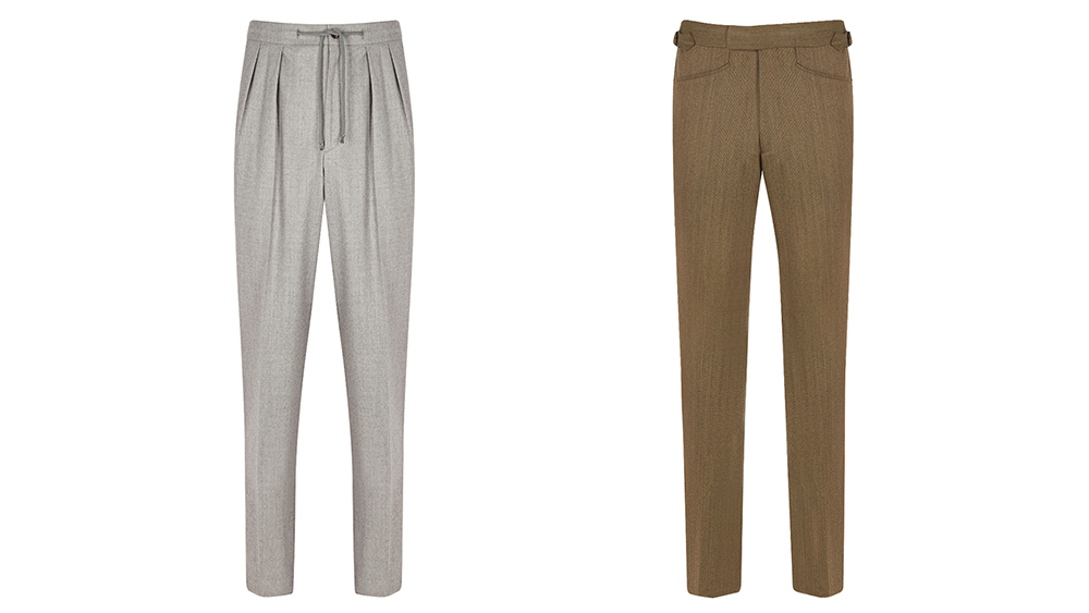 Kit Blake pleated drawstring flannel trousers and khaki twill flat front trousers.