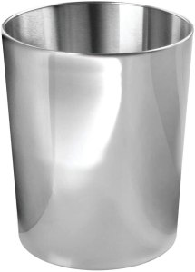 mDesign Round Metal Small Trash Can