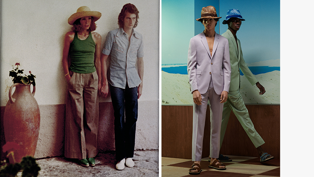 At left, a young Paul Smith and his wife, Pauline. Right, two looks from Smith's forthcoming spring 2021 collection.