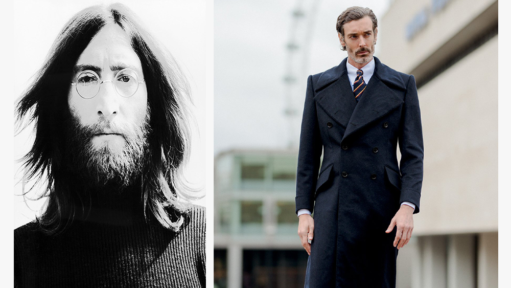 John Lennon photographed by David Nutter; Sexton's wool greatcoat.