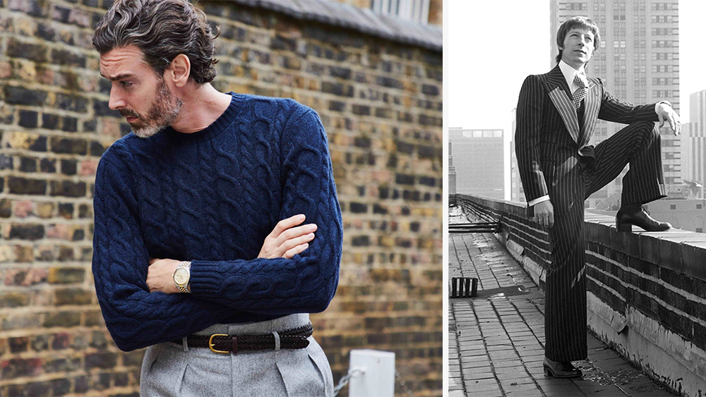 Edward Sexton cashmere cable-knit sweater and flannel Hollywood trousers; Sexton in 1974.