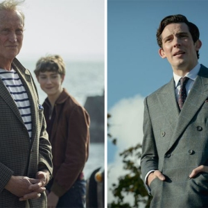 Lord Mountbatten and Prince Charles handsomely suited in season four of The Crown.