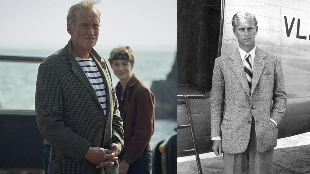 "Charles Dance as Lord Mountbatten in ""The Crown""; Prince Philip, Duke of Edinburgh , in 1947."