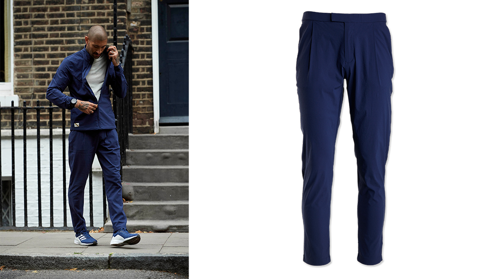 Tailored to work on and off the track: Tracksmith 'Run-Commute' jacket ($198) and pants ($198).
