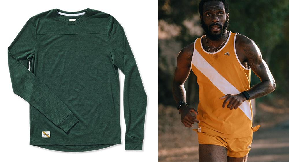 Tracksmith 'Harrier' long-sleeve tee ($82). Right, 'Van Cortlandt' singlet ($65) and shorts ($60).